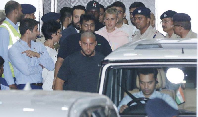 International pop star Justin Bieber landed in Mumbai