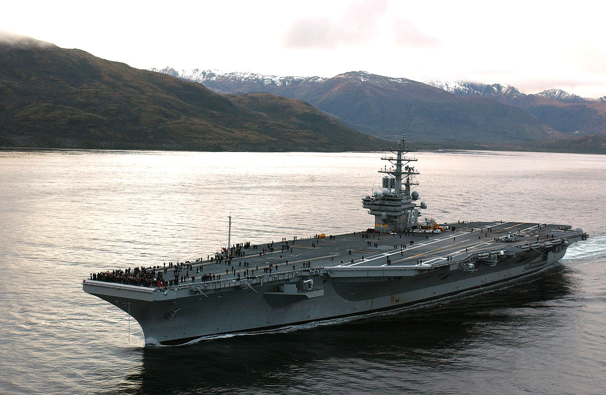 The 1,092-foot Reagan carries a crew of 4,539 and is equipped with roughly 60 aircraft, according to the Navy.  It was commissioned in 2003 and cost about $8.5 billion.