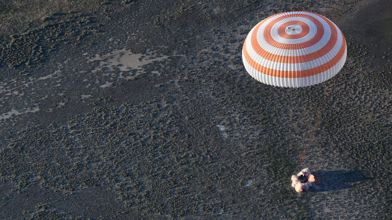Soyuz MS-03 spacecraft with Russian and French astronauts onboard lands on Earth