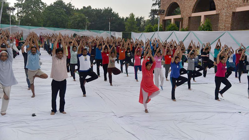 MDI Gurugram students perform Surya Namaskar on International Yoga Day