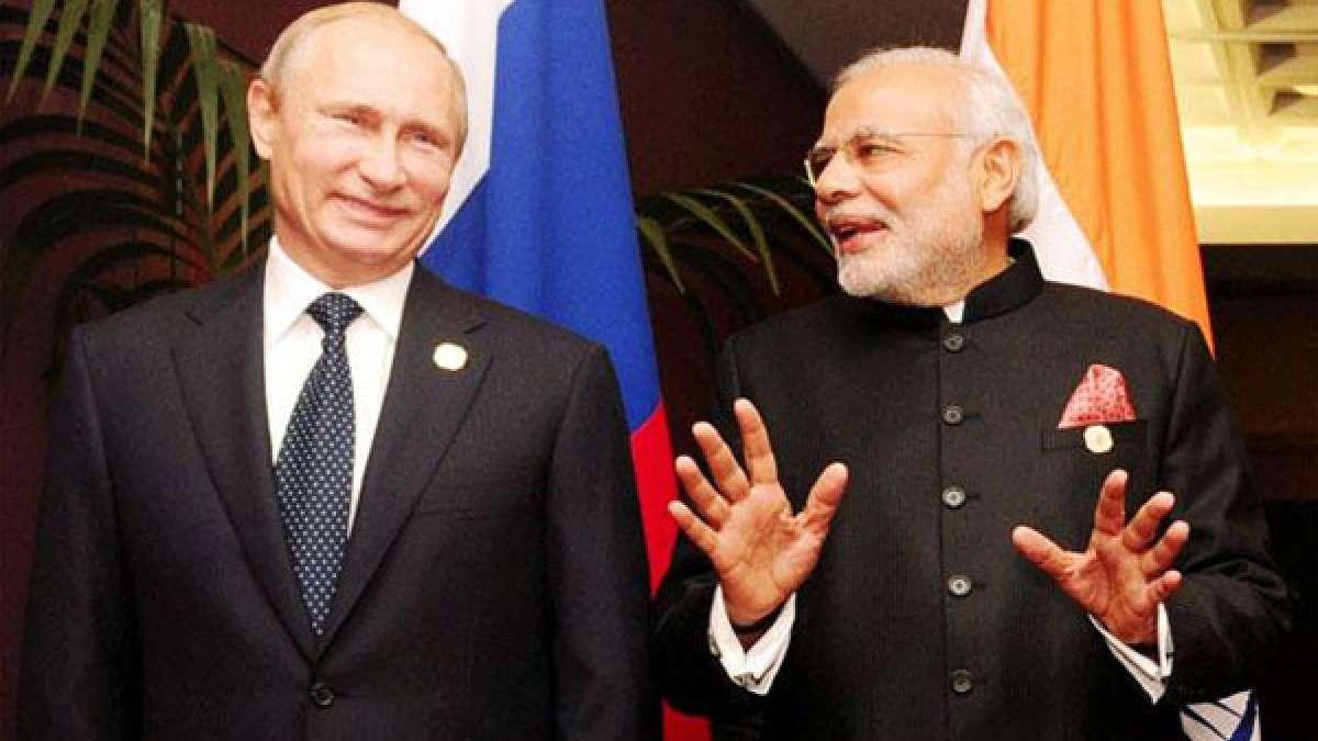Russian President Vladimir Putin with Indian Prime Minister Narendra Modi