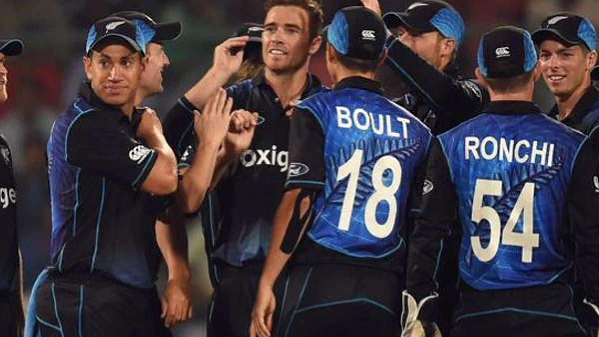 New Zealand team during second ODI against India in New Delhi