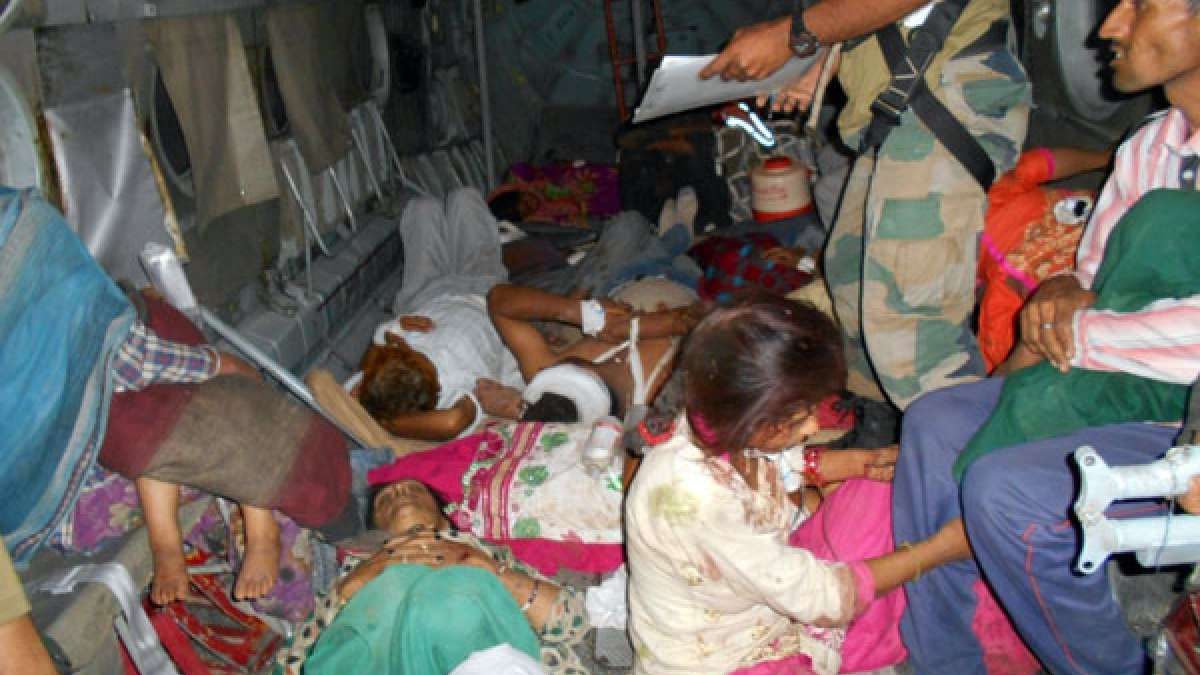 Injured people being airlifted in Indian Air Force helicopter