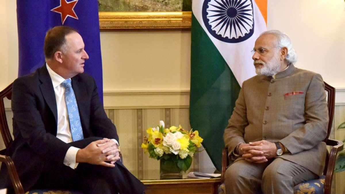 New Zealand PM John Key with PM Narendra Modi in Washington DC