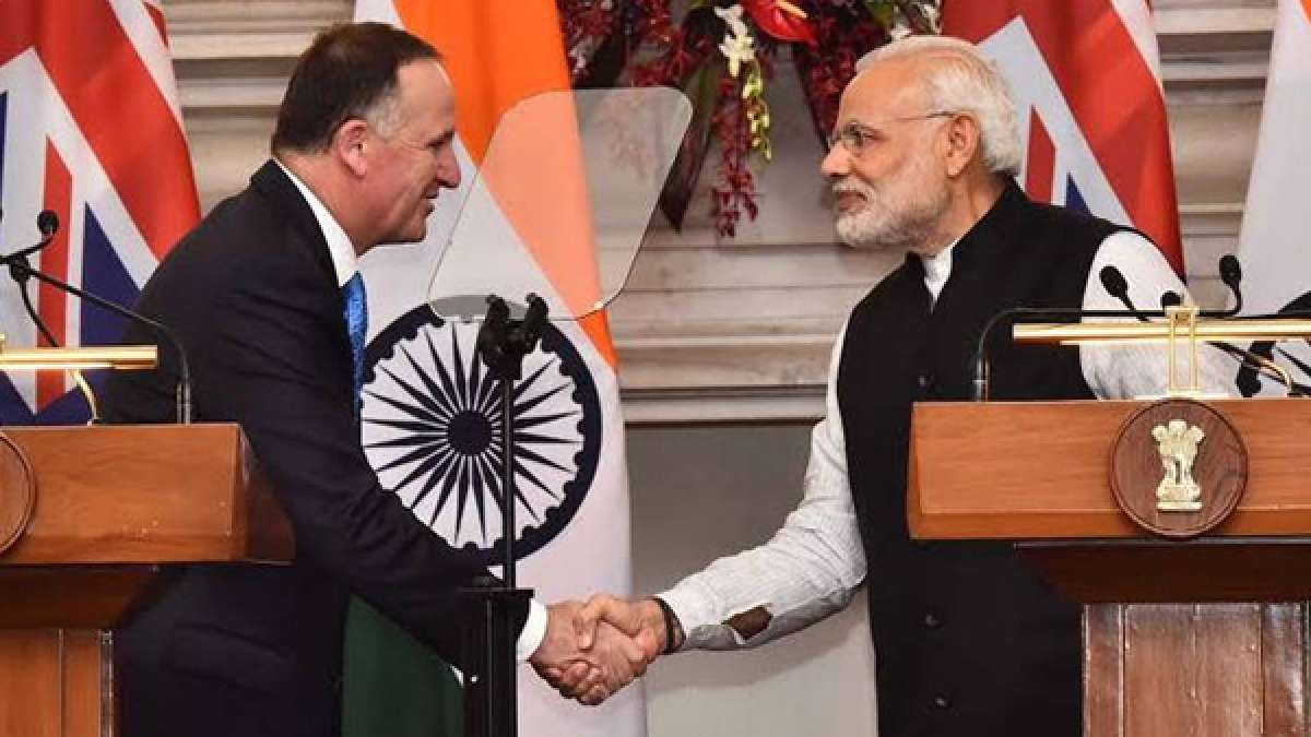 John Key with Narendra Modi during joint press conference in New Delhi