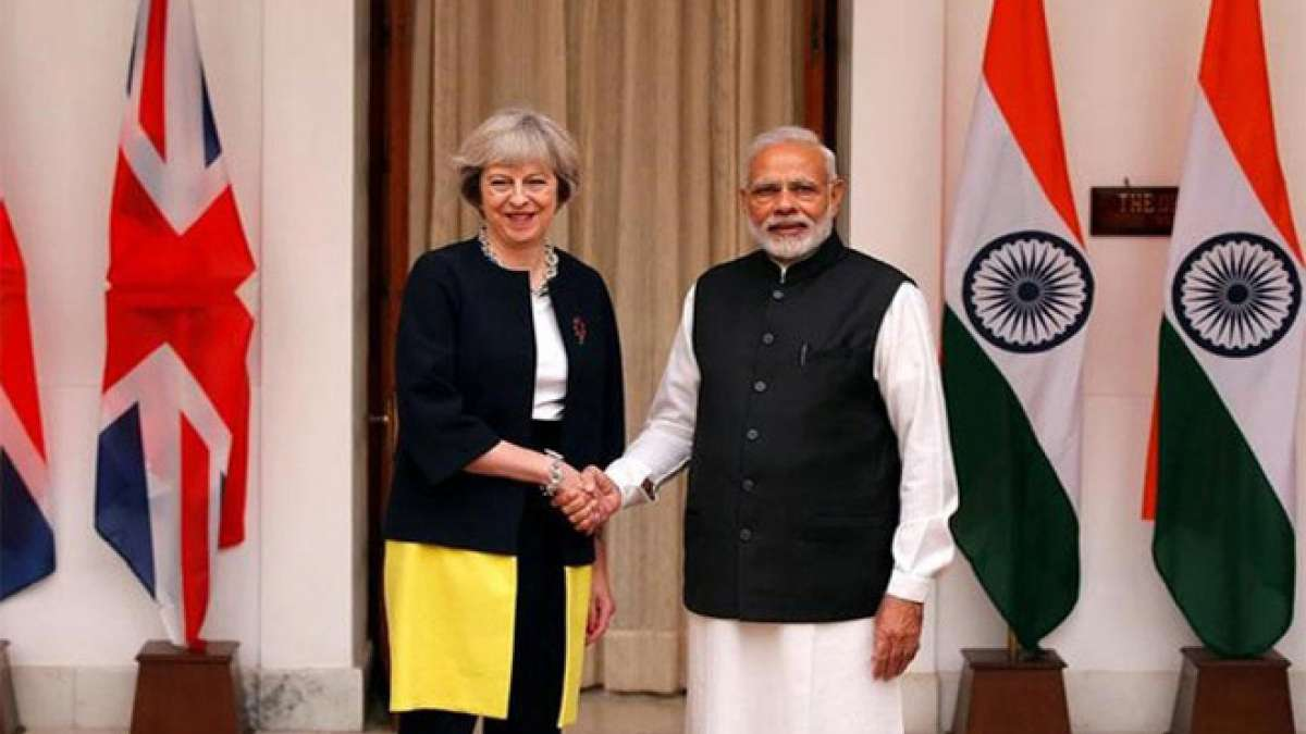British Prime Minister Theresa May with PM Narendra Modi