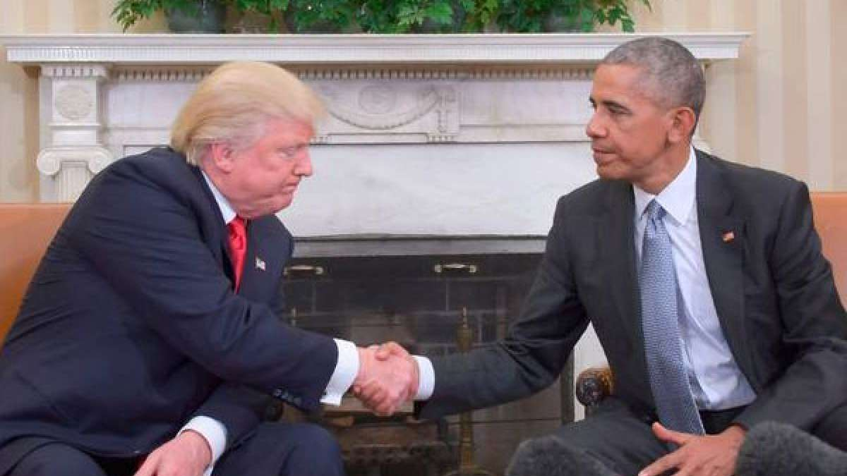 Barack Obama with Donald Trump at White House