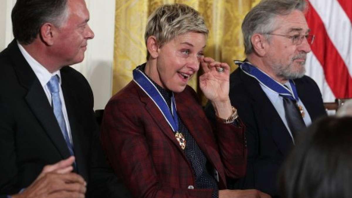 Teary eyed Ellen DeGeneres