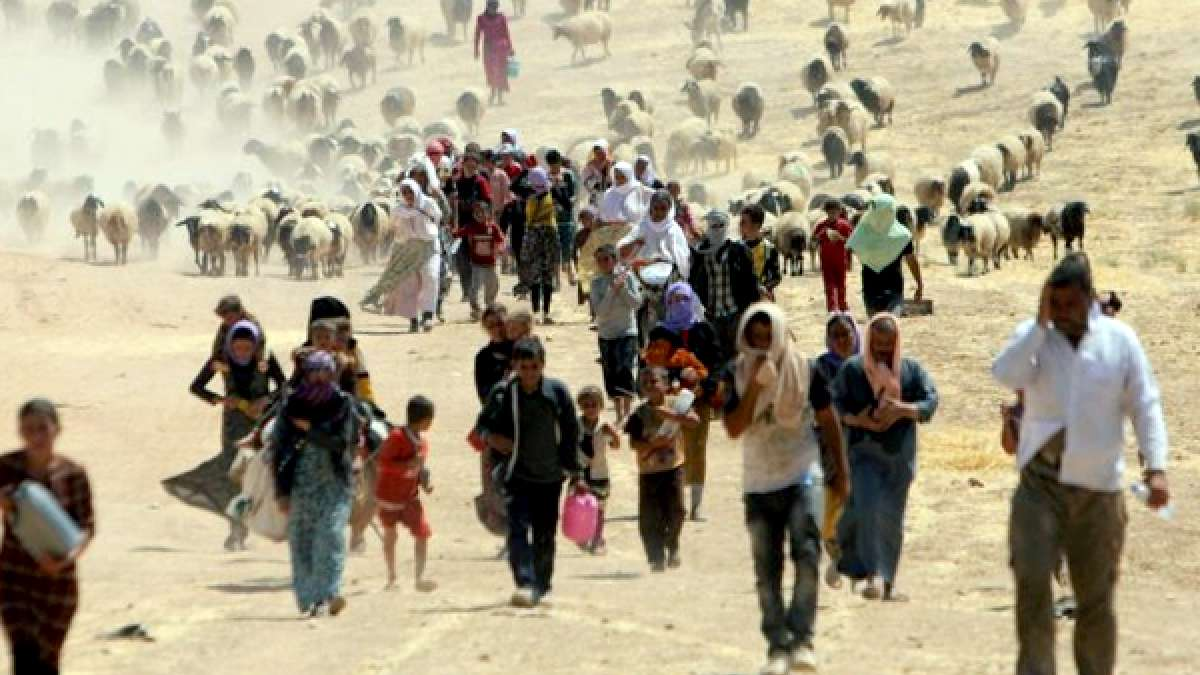 People migrating from one place to another