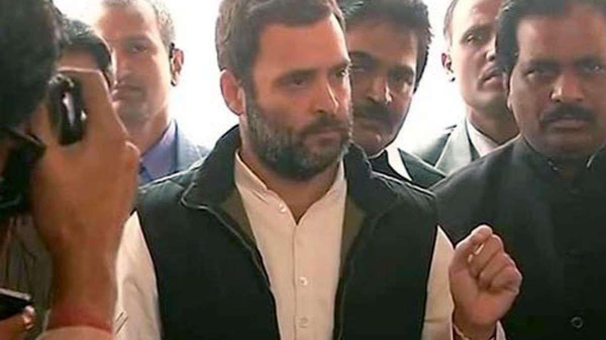 Rahul Gandhi speaking with reporters