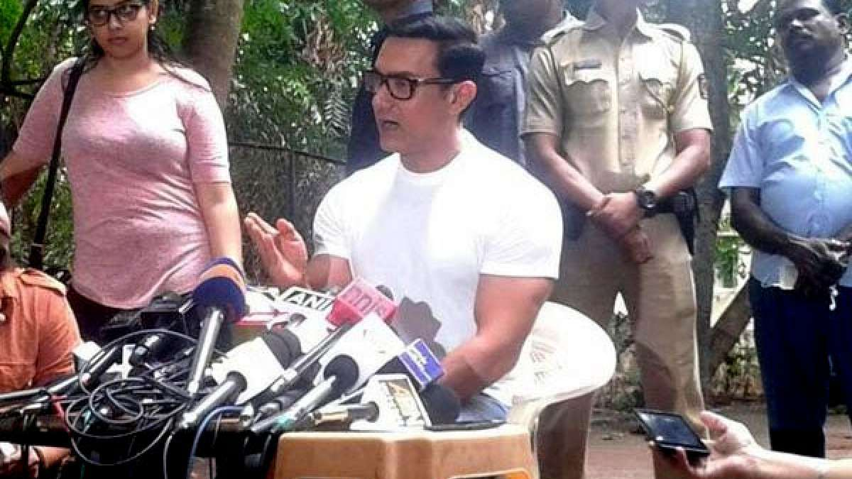 Bollywood actor Aamir Khan addressing a press conference
