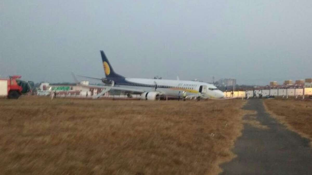 Jet Airways plane skids off at Dabolim airport