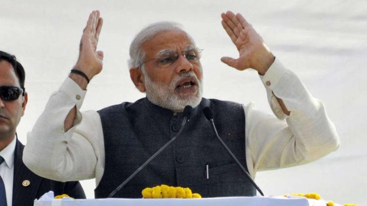 Prime Minister Narendra Modi addresses a rally in Dehradun