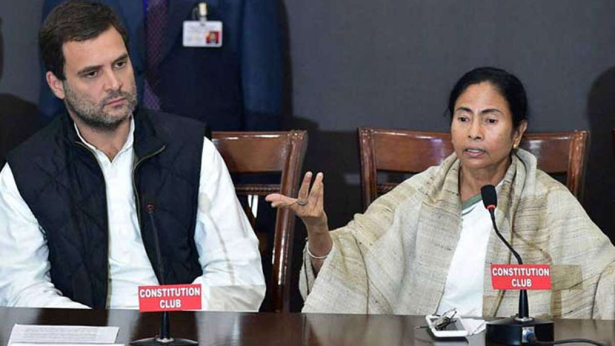 Rahul Gandhi and Mamata Banerjee addressing a joint press conference