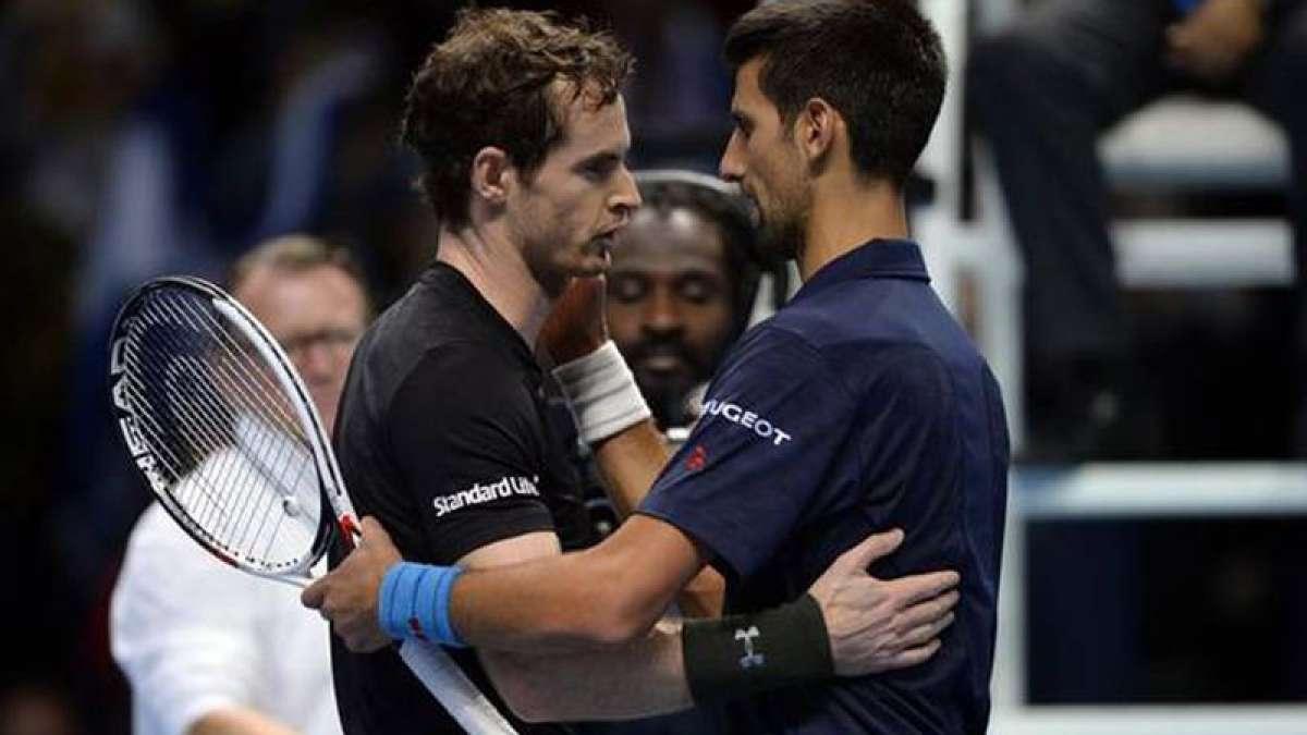 Andy Murray with Novak Djokovic