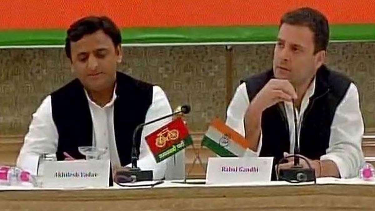 Akhilesh Yadav and Rahul Gandhi during a joint press conference
