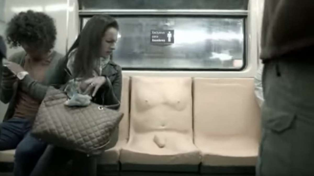 Penis seat in Mexico Metro system