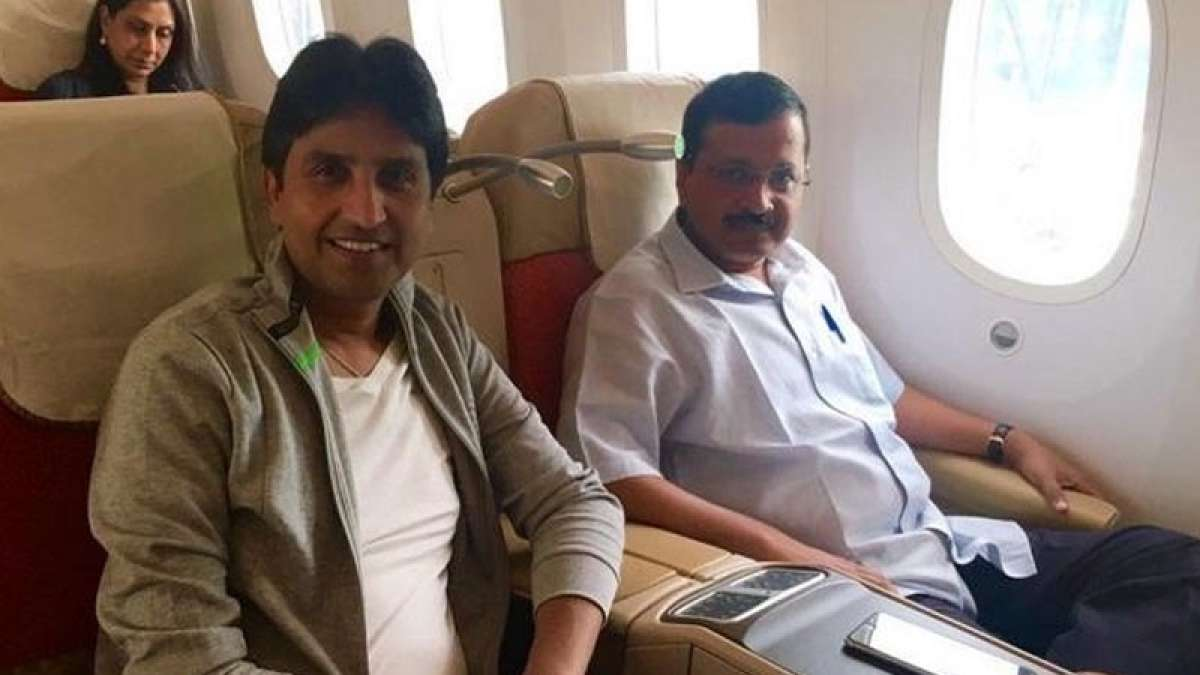Delhi Chief Minister Arvind Kejriwal with AAP MLA Kumar Vishwas