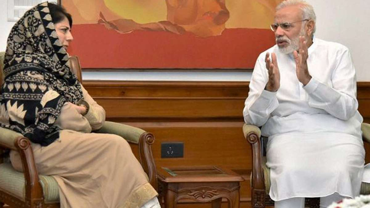 Jammu and Kashmir Chief Minister Mehbooba Mufti with Prime Minister Narendra Modi