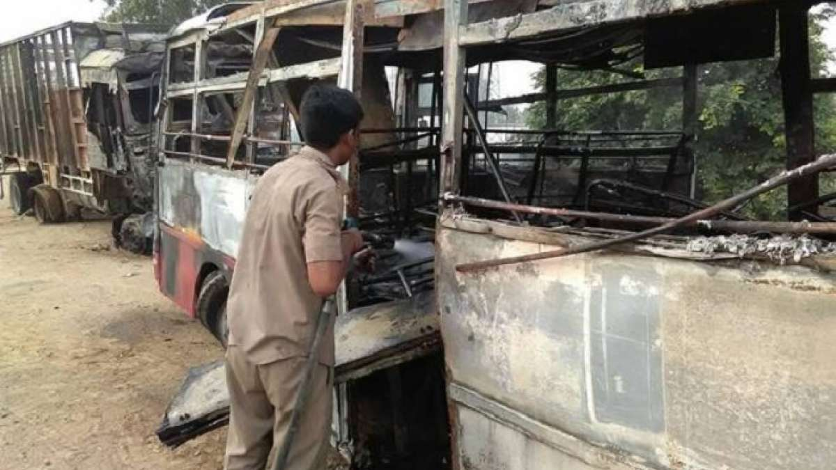 At least 22 persons on Monday were charred to death in Uttar Pradesh after their bus caught fire