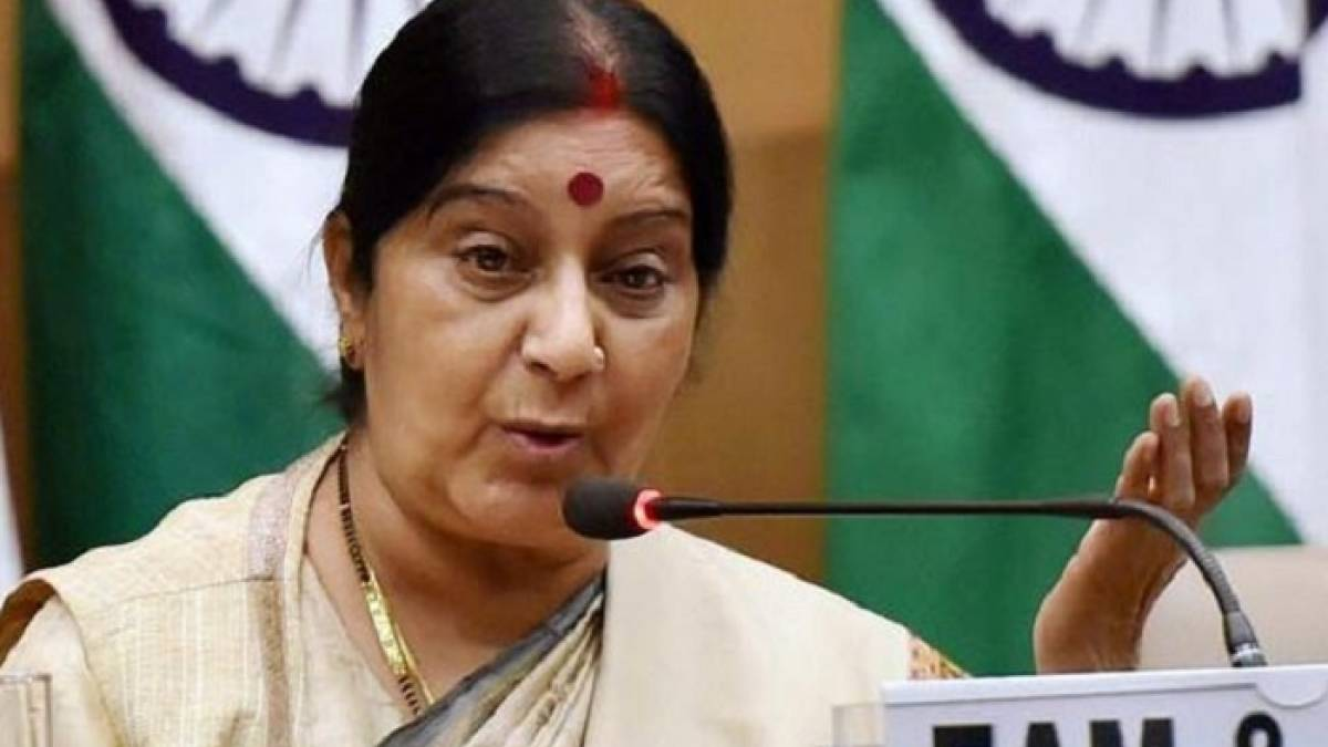 Sushma Swaraj complaining that Pakistan was yet to give a visa to Kulbhushan Jadhav mother