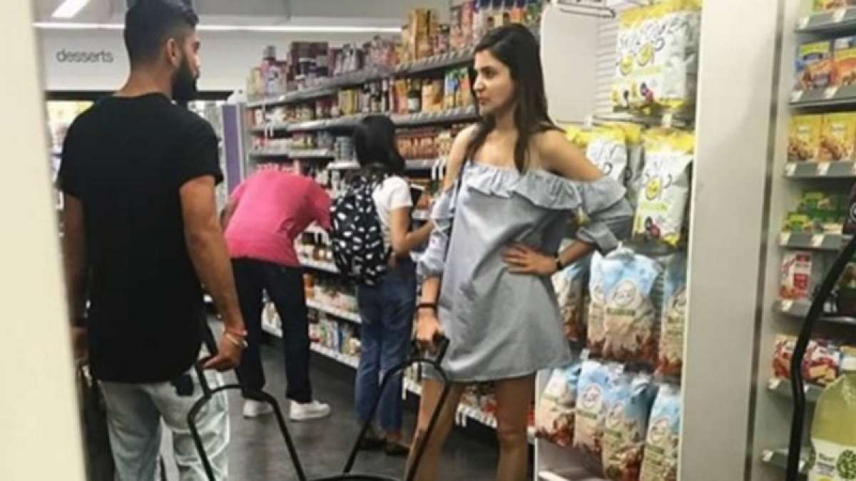 Virat and Anushka at a grocery store in the US
