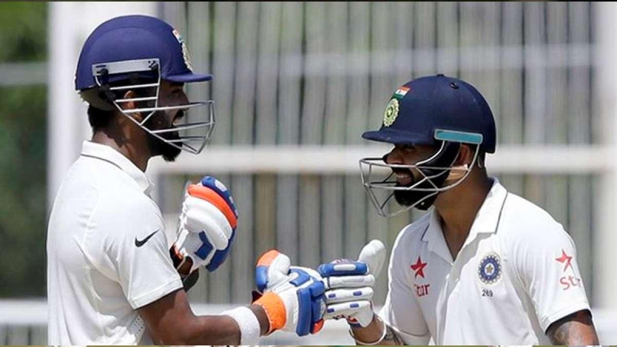 Indian skipper Virat Kohli with KL Rahul during a Test match
