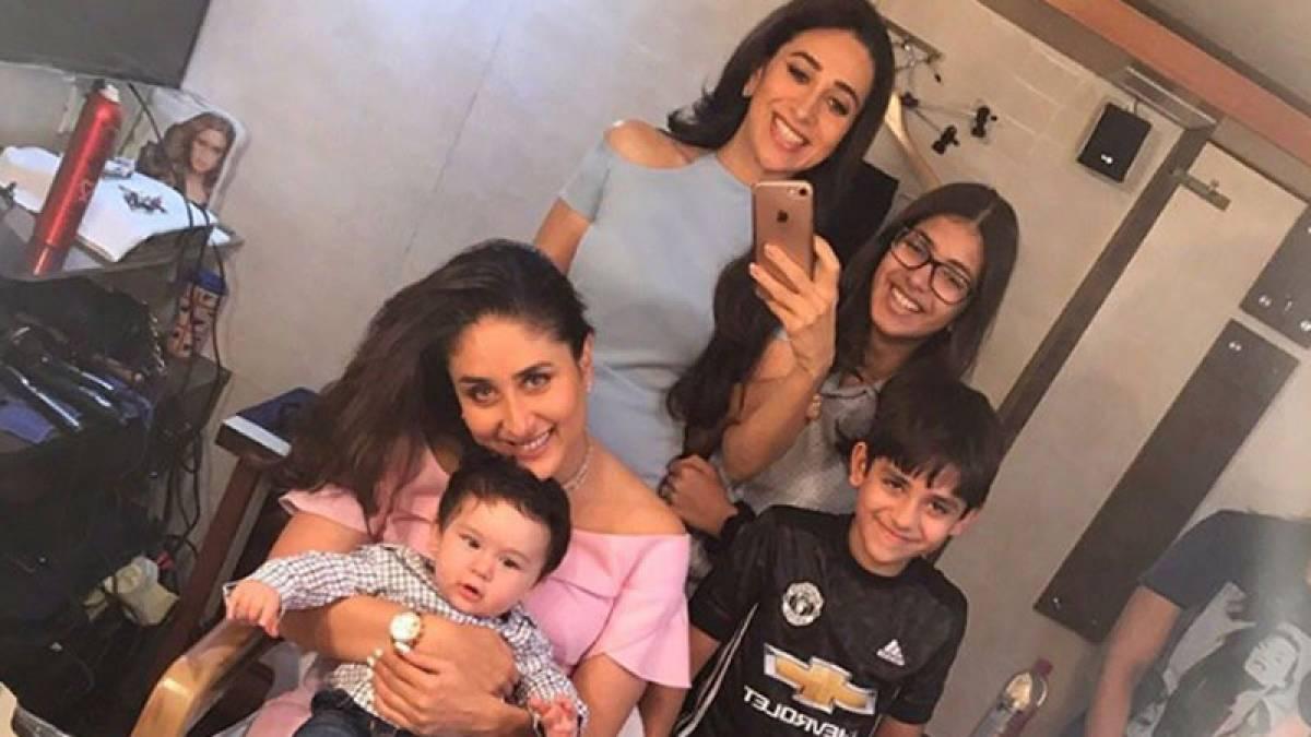 Karisma with Kareena Kapoor, Taimur Ali Khan and kids