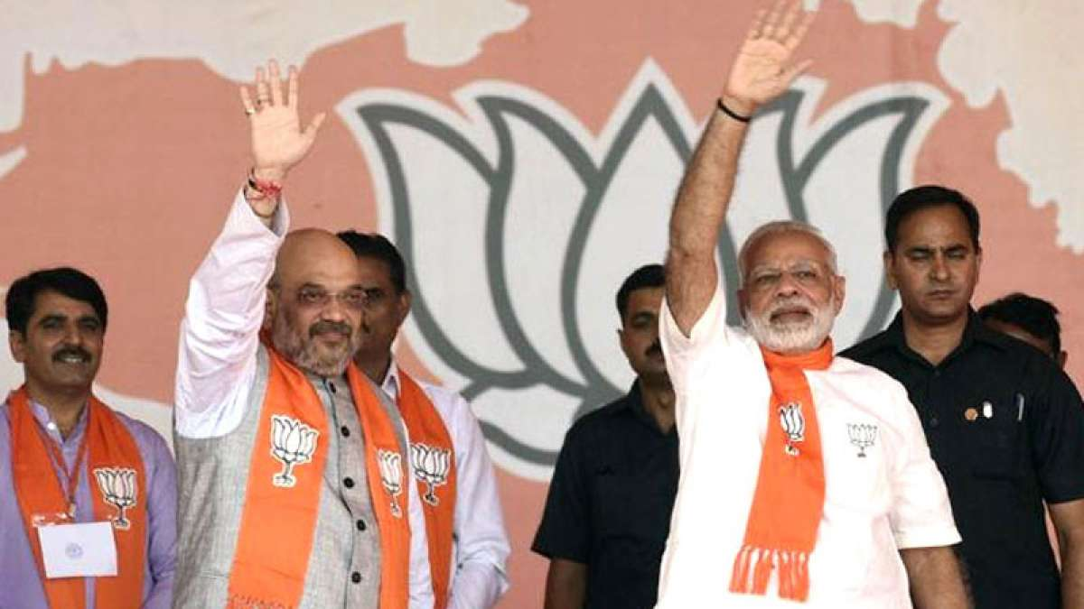 PM Narendra Modi and Amit Shah during a rally