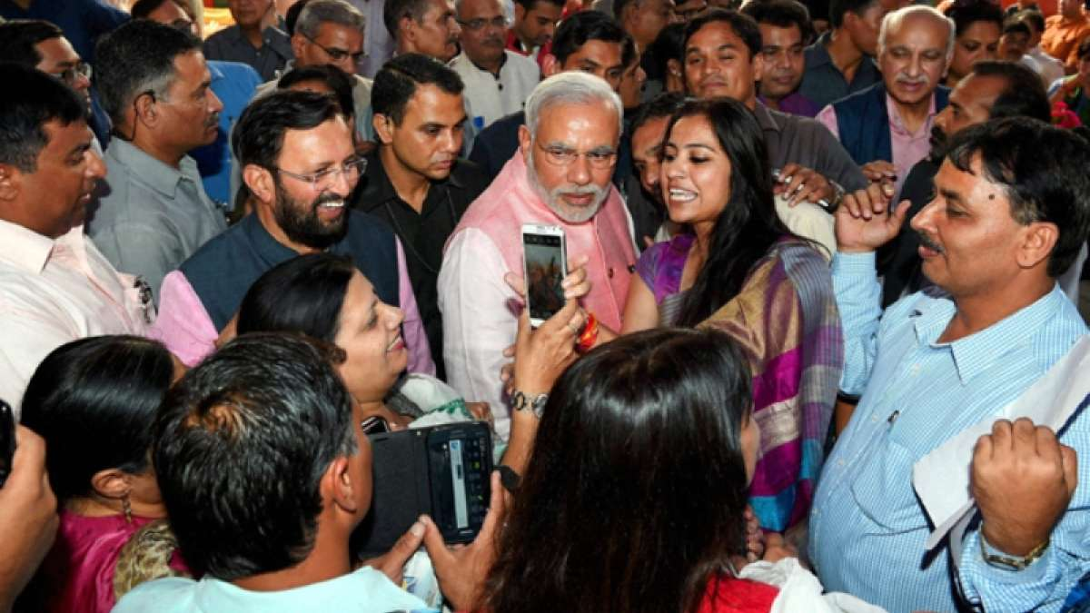 PM Modi with media (file photo)