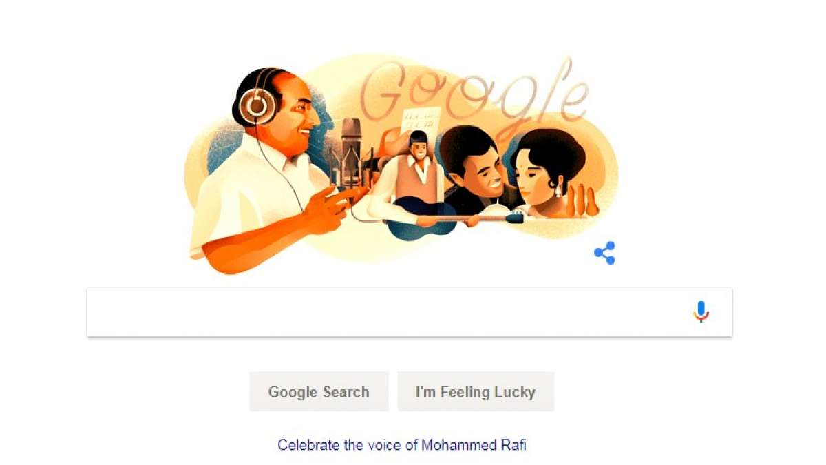 Google doodle dedicated to Mohammed Rafi on his 93rd birth anniversary