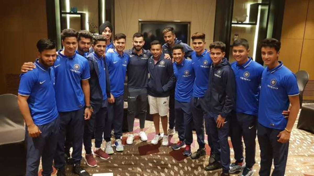 India captain Virat Kohli meets national U-19 cricket team boys