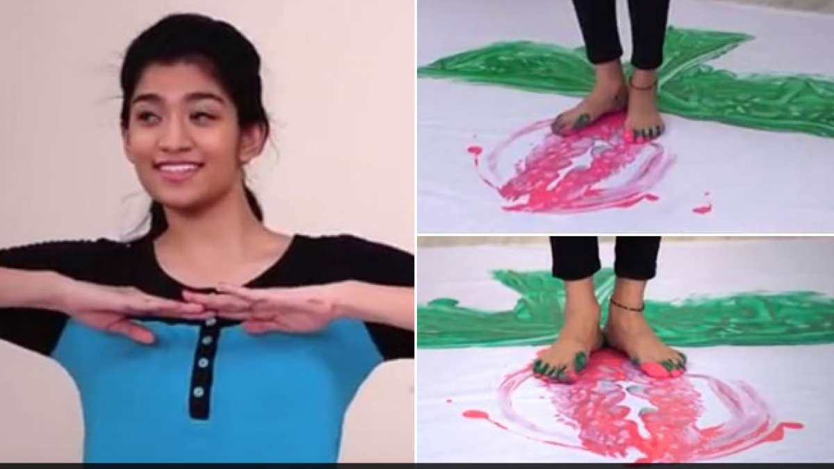 Hyderabad Girl Jahnavi Maganti makes world's largest painting by feet ( Image Source: Youtube)