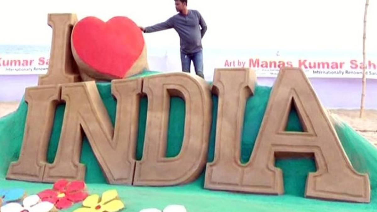 Valentine's Day: Love art at Odisha's Puri beach attracts tourists