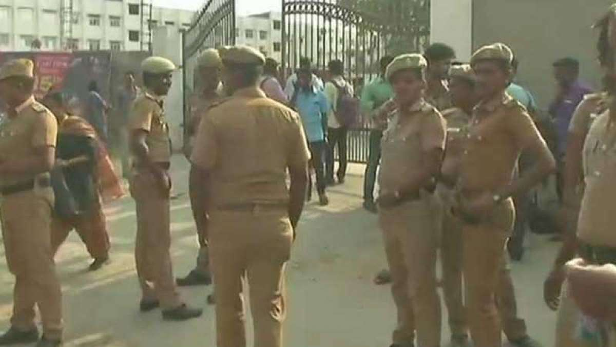 Cops outside Meenakshi Academy of Higher Education and Research