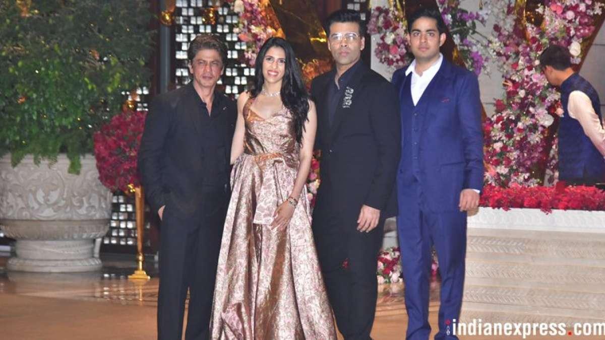 Shah Rukh Khan and Karan Johar attended the engagement party of Akash Ambani and Shloka Mehta.