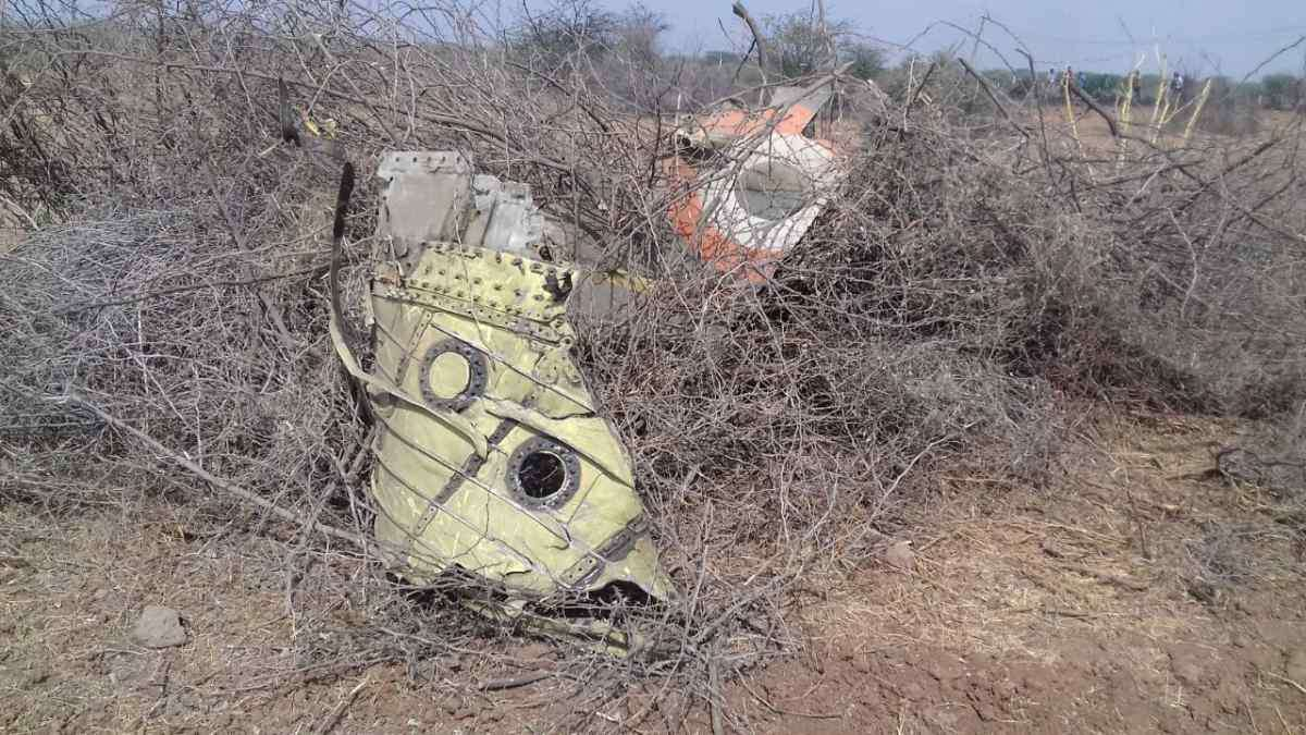 Debris from the Air Force fighter plane which crashed in Gujarat's Kutch district on Tuesday.