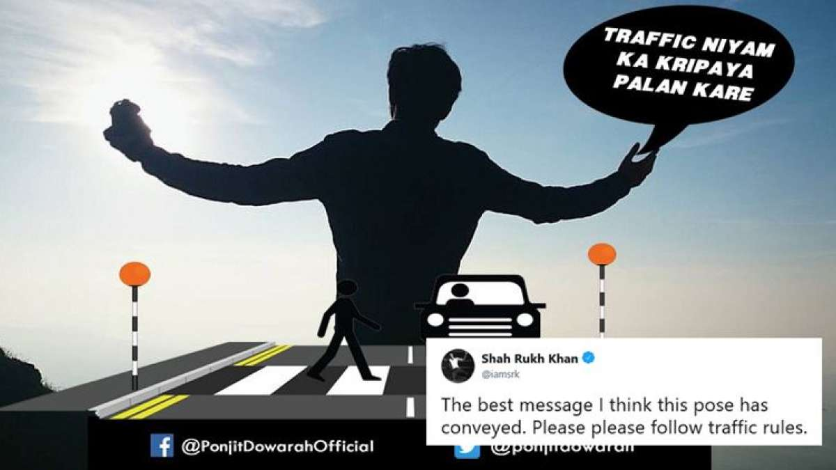 "Sharing the poster on his Twitter, Khan wrote, ""The best message I think this pose has conveyed. Please please follow traffic rules."""