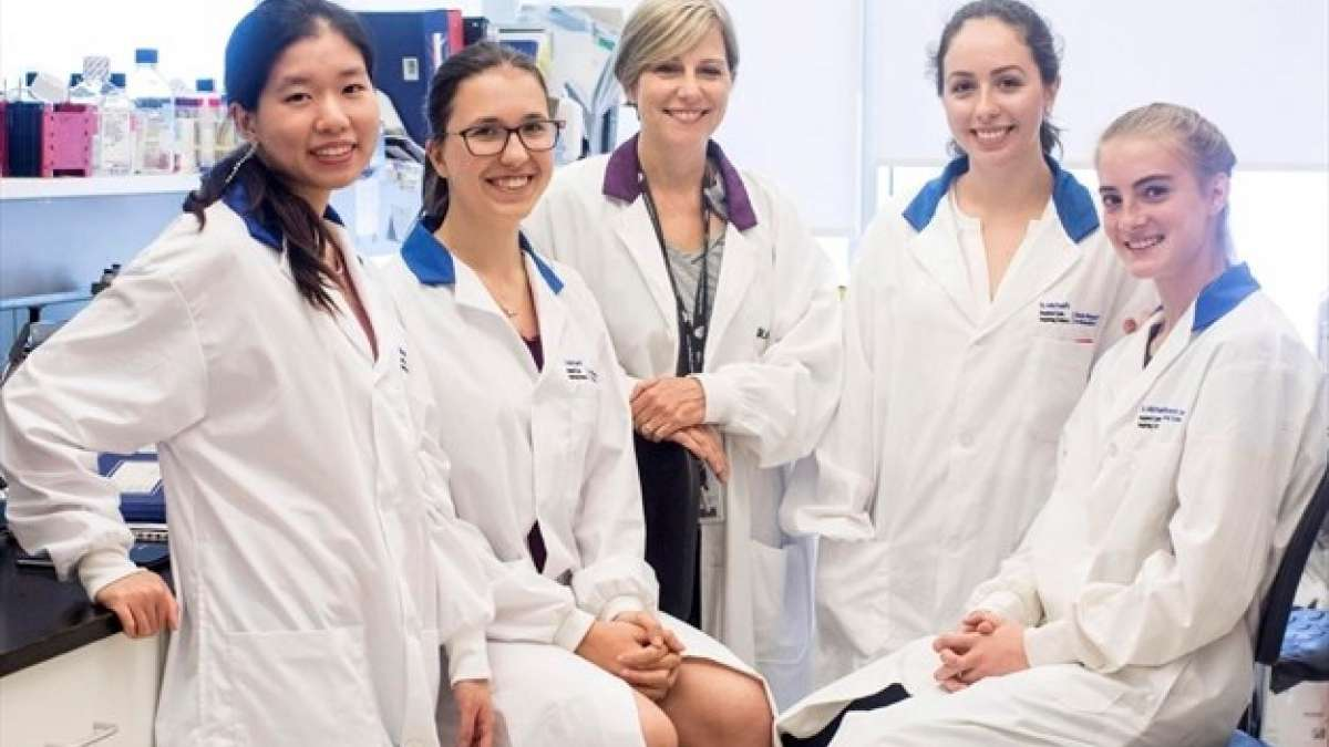 Jane Batt, centre, scientist at St. Michael's Keenan Research Centre for Biomedical Science, is joined by students who took part in the space flight experiments program: Kay Wu, left, Alice Vlasov, Amy Freeman and Annabel Gravely at St. Michael's Hospital in Toronto. - Chris Young , The Canadian Press