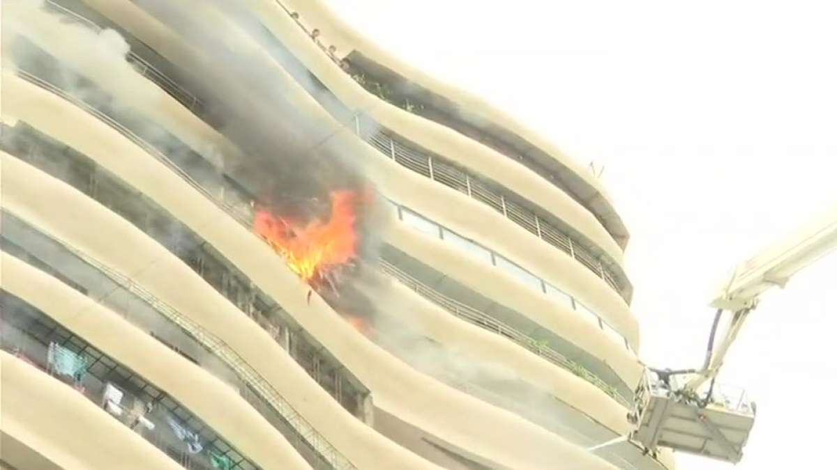 Fire broke on 12th floor of 17-storeyed Crystal Tower building located in Parel, Mumbai