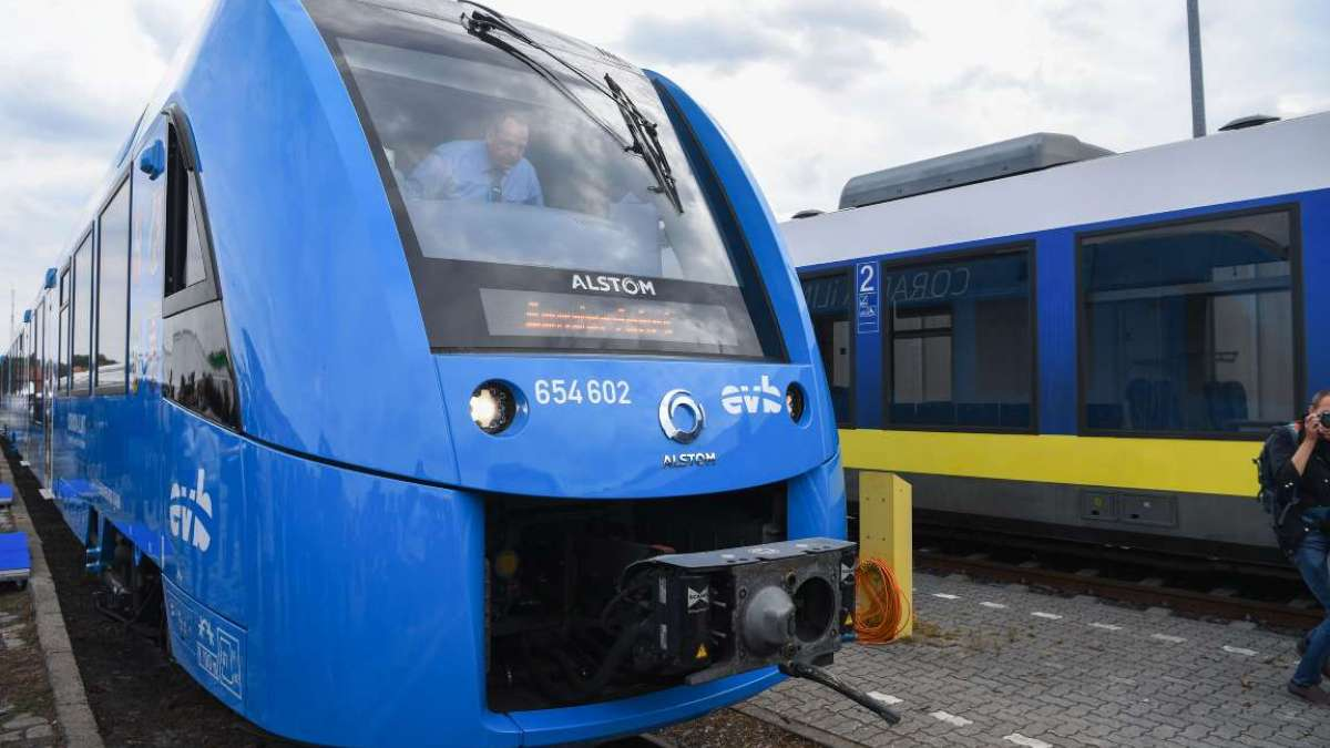 The first hydrogen-powered train, by French train maker Alstom, arrives at the station in Bremervoerde, Germany, as it enters service