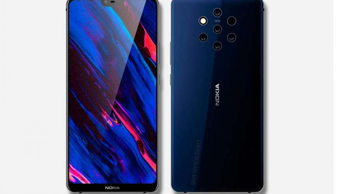 Nokia 9 with five camera setup at the back