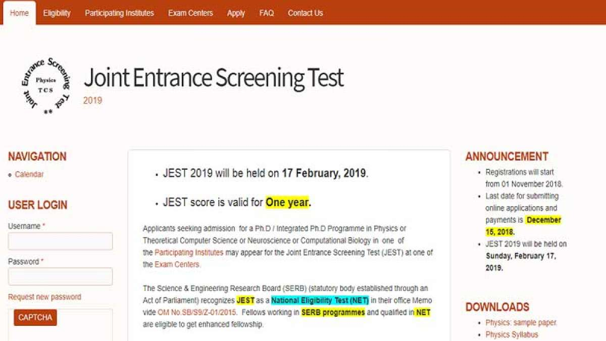 JEST 2019 Registration begins from November 10, apply at jest.org