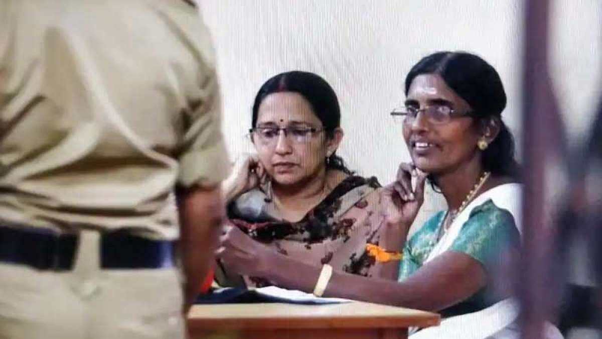 Woman leader KP Sasikala in Ranni police station