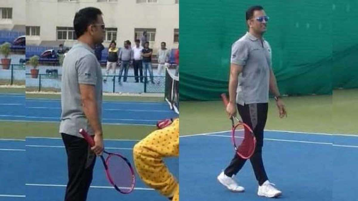 MS Dhoni tries his hands on tennis court