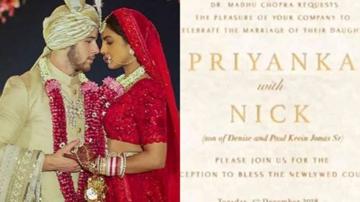 Priyanka Chopra and Nick Jonas in traditional outfit for Hindu wedding ceremony