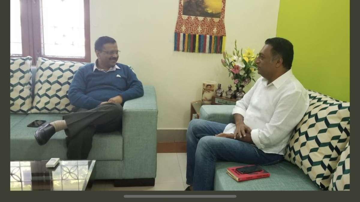 Delhi: Kannada actor Prakash Raj meets CM Arvind Kejriwal