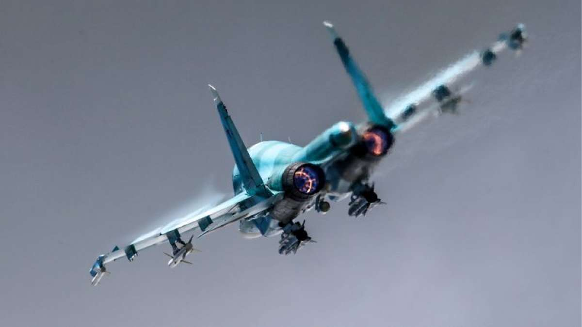 Library image of a Sukhoi Su-34 in flight (Picture: Sergei Fadeichev/TASS via PA Images).