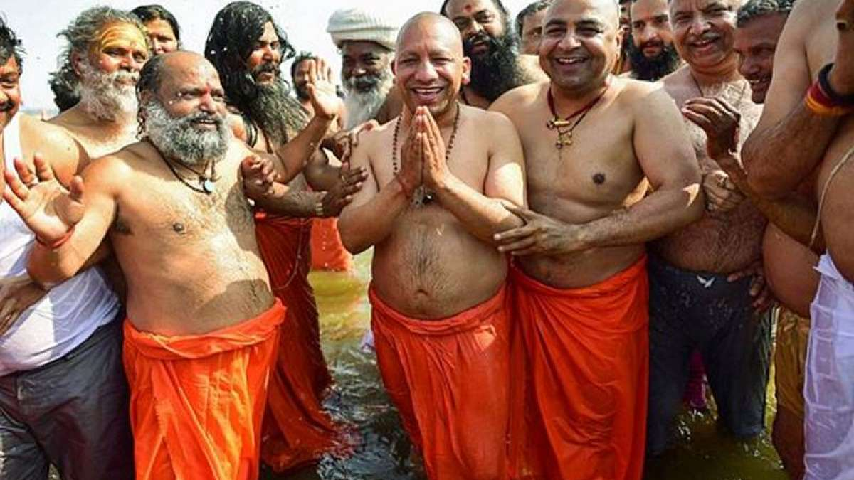 UP Chief Minister Yogi Adityanath along with his 25 cabinet colleagues took a holy dip in the Sangam at Prayagraj