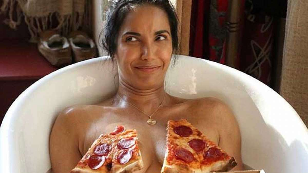Padma Lakshmi goes topless to celebrate National Pizza Day